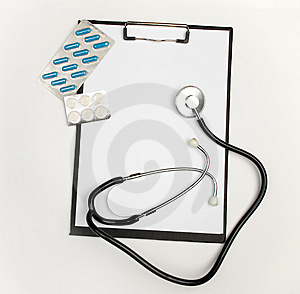 Medical Clipboard, Stethoscope And Pills Stock Photography - Image: 8377422