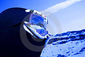 Skier With Mountain Peaks Reflected On Mask Royalty Free Stock Images - Image: 8378589