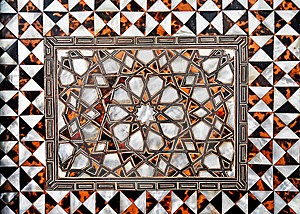 Detail Of Ornate Inlaid White Marble Of The Mughal Royalty Free Stock Images - Image: 8379589