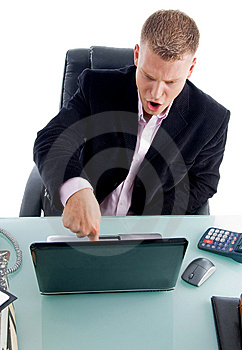 Manager Pressing The Key On Laptop Stock Photography - Image: 8380062