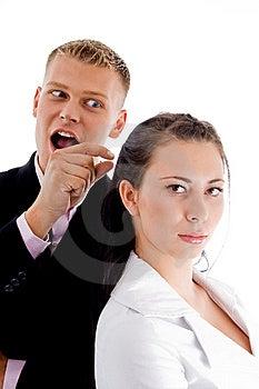 Businessman Pointing To Woman Stock Photos - Image: 8380203