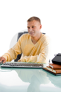 Man Working On  Desk Royalty Free Stock Images - Image: 8380229
