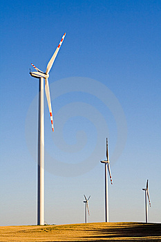 Windmills On Grain Field Royalty Free Stock Photo - Image: 8382375