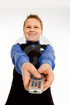 Funny Boy With Tv Remote Control Stock Photo - Image: 8382540