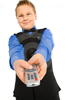 Funny Boy With Tv Remote Control Stock Photography - Image: 8382542