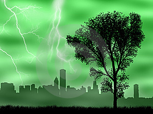 City In The Storm Royalty Free Stock Image - Image: 8383466