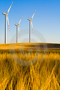 Windmills On Grain Field Stock Image - Image: 8384251