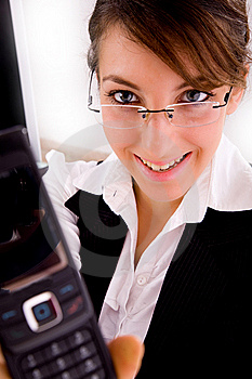 Smiling Businesswoman Showing Her Cellphone Royalty Free Stock Photography - Image: 8384397