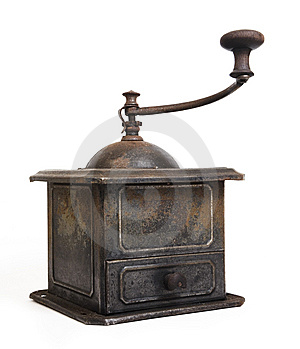 Old Coffee Grinder On White Stock Images - Image: 8384464