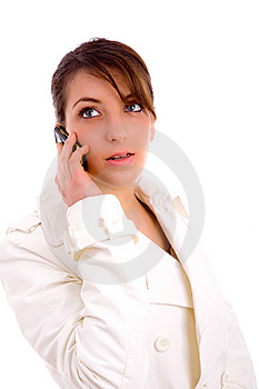 Fashionable Woman Talking On Cellphone Royalty Free Stock Photos - Image: 8384638