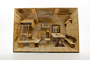 Carved Wood 3D Old German Country Kitchen Scene Stock Images - Image: 8384664