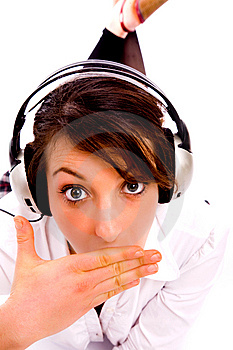Amazed Woman Listening To Music Stock Photo - Image: 8384780