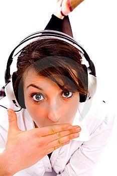 Amazed Woman Listening To Music Stock Photo - Image: 8384780