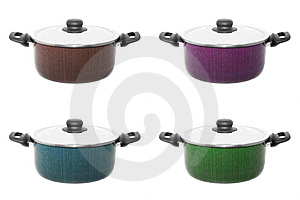 Four Color Cooker Pans Royalty Free Stock Photo - Image: 8385075