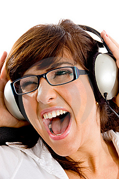 Close View Of Shouting Woman Listening Music Royalty Free Stock Image - Image: 8386426