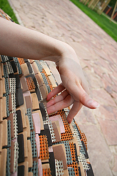 Woman Hand Touching Rubber Bench Stock Images - Image: 8388864