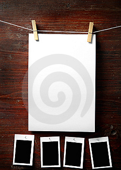 Photo Paper Attach To Rope With Clothes Pins Stock Photography - Image: 8389142