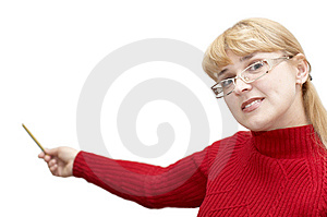 Adult Attractive Woman With Pointer Stock Photography - Image: 8389552