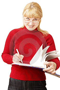 Pretty Woman Makes Notes Royalty Free Stock Photo - Image: 8389615
