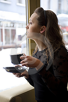 Woman In The Cafe Stock Images - Image: 8390694