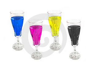 Wine Drink Glasses Colored On CMYK Palette Stock Images - Image: 8391484