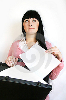 Businesswoman With Briefcase Stock Photos - Image: 8392793