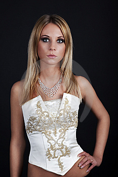 Elegance Young Women Over Black Stock Images - Image: 8393884