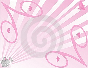 Bunny And Butterfly Background In Pink Royalty Free Stock Photography - Image: 8393977