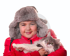 Boy And Cat Stock Images - Image: 8397094
