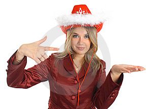 Girl In A Hat And Jacket Indicate, Isolated; Stock Photography - Image: 8397772