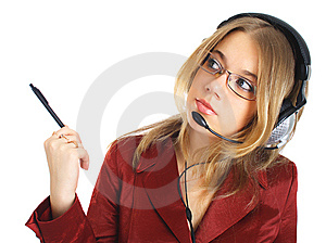 Girl In Glasses With Headset And Pen, Isolated Stock Photography - Image: 8397792