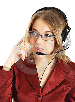 Friendly Support Girl With Headset, Isolated Stock Photos - Image: 8397853