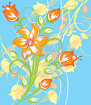 Bright Tiger Lily With Blue Background Stock Photo - Image: 8398150