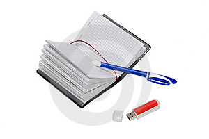 Notebook, Pen And USB Flash Drive Stock Photography - Image: 8400692