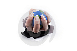 Hand Holding Planet Thru A Hole Royalty Free Stock Images - Image: 8400919
