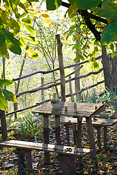 Rustic Table With Water Pot Stock Photos - Image: 8401073