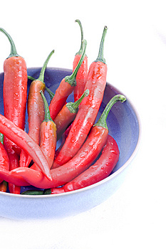 Red Chillis In Blue Bowl Royalty Free Stock Photos - Image: 8401198