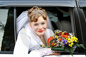 Bride In The Car Stock Photography - Image: 8404632