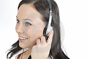 Telephone Operator Women Wearing A Headset Royalty Free Stock Images - Image: 8405859