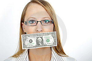 Businesswoman Kissing MONEY Stock Photography - Image: 8406432