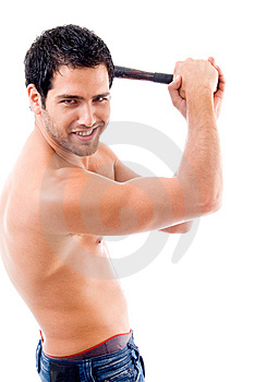 Side Pose Of Smiling Man With Stick Stock Photo - Image: 8406720