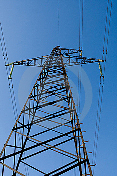 Power Line Poles Over Blue Sky Background Royalty Free Stock Photography - Image: 8407207