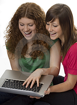 Two Teenagers With Laptop Computer Stock Photo - Image: 8407500