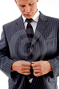 Businessman Tucking His Coat Button Stock Photos - Image: 8407543