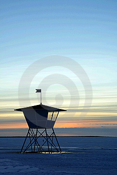 Sunset Over Frozen Lake Royalty Free Stock Images - Image: 8407549
