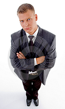 Standing Businessman With Folded Hands Stock Photo - Image: 8407650