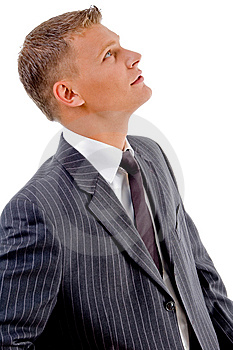 Side Pose Of Young Businessman Looking Upward Stock Photo - Image: 8407690