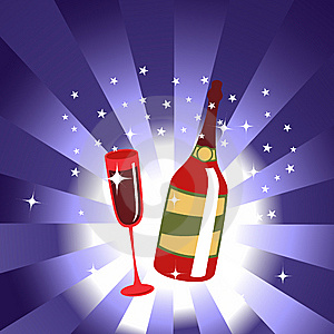 Wine Bottle And  Glass Royalty Free Stock Photo - Image: 8411405