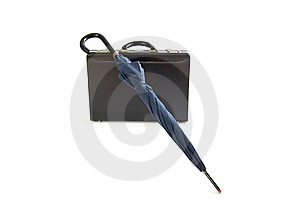 Umbrella And Leather Briefcase Stock Photo - Image: 8411850
