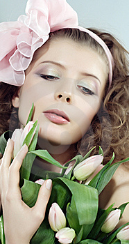 Woman Beautiful Pink Flowers Royalty Free Stock Photos - Image: 8412488